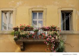 House Balcony With Red And Pink Flowers On Old Yellow Apartment Building In Rome