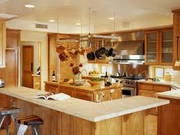 Spellbinding Recessed Lights Over Kitchen Island With Metal Hanging Pot Rack Also L Shaped