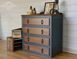 Rustic Style Restored Antique 1920s Chest Of Drawers Painted In Navy Blue Chalk Paint And Retrained