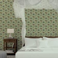 klassische tapete im schlossteich mit enten im schilf in grün braun angepasst an greene wandfarben