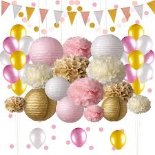Pink And Gold Party Decorations 50 Pc Pink Party Supplies Paper Pom Poms Paper Lanterns Glitter