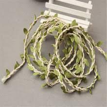 5M Natural Jute Burlap Twine String With Leaf Wedding Decoration DIY Centerpieces Rustic Party Decor
