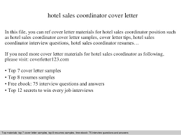 Hotel Sales Coordinator Cover Letter In This File You Can Ref Materials For Sample