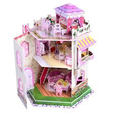 Girls Big Wood Dollhouse Playset Doll House Cottage With Furniture