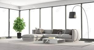 minimalist wohnzimmer mit sofa und große fenster 3d rendering