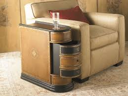 Awesome Modern End Table For Living Room Brown Rustic Wood Drawer Beige Fabric Arms