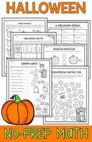 Halloween Multiplication Worksheets Grade 3 by Halloween Math Packet No Prep Halloween Math Worksheets