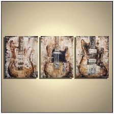 Guitar Painting Music Wall Art Rustic Decor Brown Original Palette Knife On Canvas