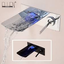 Wall Mounted Led Waterfall Faucet by Water Led Bathroom Tap Faucet Temperature Color Changing Led