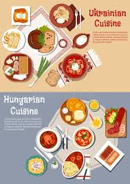 national cuisine of hearty and hungarian dinners flat icon stock vector