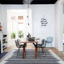 Multicolored Contemporary Dining Room With Striped Rug