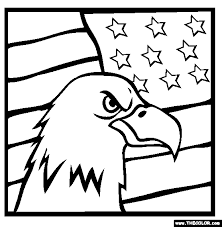 American Bald Eagle Flag Online Coloring Page
