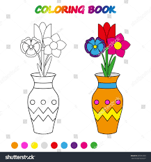 Flowers Vase Coloring Page Worksheet Game Stock Vector 691852963