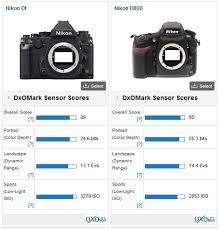 nikon df versus nikon d800 complementary performance dxomark