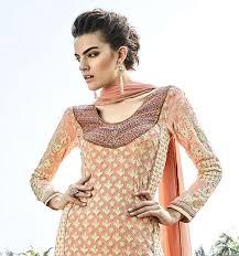 Peach Designer Wear Pakistani Plazzo Suit With Lucknowi Work F16121