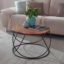 finebuy couchtisch sheesham massivholz metall 60 x 40 x 60 cm wohnzimmertisch rund massiv braun sofatisch modern holztisch tisch wohnzimmer