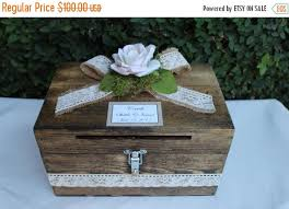 ON SALE Wedding Card Box Cardholder Wooden Lockable With Slot Rustic Decor