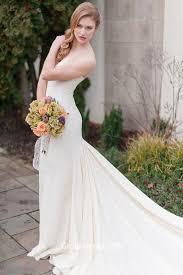 Ivory Strapless Long Fall Wedding Dress Chapel Train