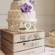 2 Of 5 Personalised Rustic Wedding Cake Stand Vintage Wooden Crate