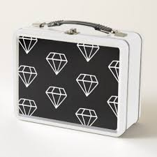 Trendy Black And White Boho Drawing Diamonds Metal Lunch Box