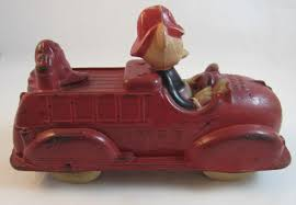100 Mickey Mouse Fire Truck Walt Disney Rubber Toy SS Moore Antiques