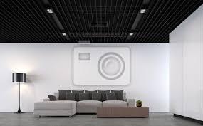 fototapete moderne loft wohnzimmer mit schwarzem stahl decke 3d rendering