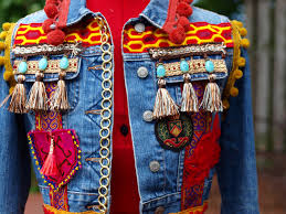 custom vintage upcycled bohemian denim jeans tribal patch