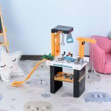 homcom kinder werkbank arbeitstisch werkbanktisch mit zubehören kran rollenspiel