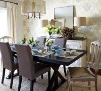 Stencil Damask Dining Room Transitional With Wallpaper Custom Made Draperies Place Settings
