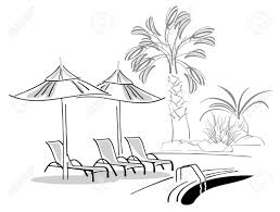 Sunbeds And Umbrellas Near Swimming Pool Stock Vector