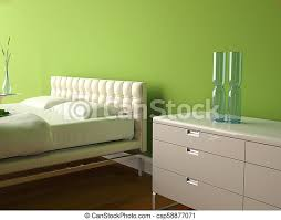 modernes schlafzimmer mit grüner wand und modernem dekor