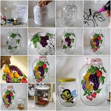 DIY Painting Glass Jars And Bottles Tutorials