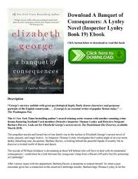 Download A Banquet Of Consequences Lynley Novel Inspector Book 19 Ebook Click Button Below To Or Read This