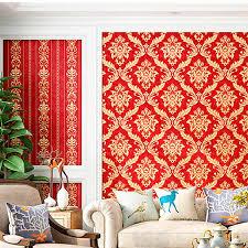 3d europäischen damaskus tapete wasserdichte rote warme schlafzimmer wohnzimmer projekt tv hintergrund tapete