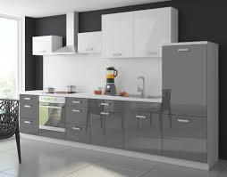 küche color 340 cm küchenzeile küchenblock einbauküche in hochglanz grau weiss