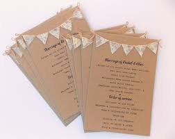 Order Of Service Cards Rustic Wedding Kraft Card With Lace Bunting Programme Program Menu