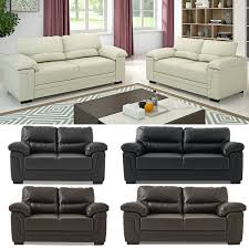 23 Seater Faux Leather Sofa Corner Couch Settee Suite Black Brown Cream Coffee