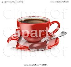 Clipart Of A 3d Red Coffee Cup On Saucer White Background