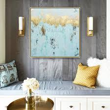 gold kunst blau abstrakte moderne leinwand wand kunst gemälde cuadros decoracion qudrao acryl gemälde bilder für wohnzimmer