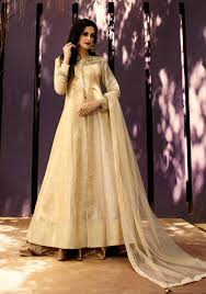Beige Designer Wear Indian Punjabi Lehenga Style Long Anarkali Frock In Silk J16313