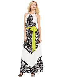 vince camuto floral chevron stripe belted maxi dress in black lyst