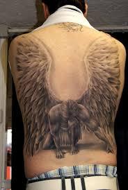 Grey Ink Fallen Angel Tattoo On Man Back