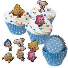 amazon com 48 bubble guppies cupcake toppers 50 baking cups set