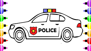 How To Draw Police Car Coloring Pages For Kids And Drawing For Kids ...