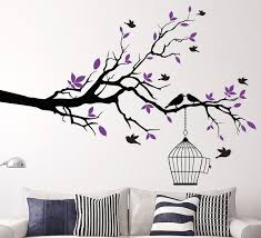 Home Decor Wall Art Delectable Tree Branch With Bird Cage Sticker Vinyl Decals