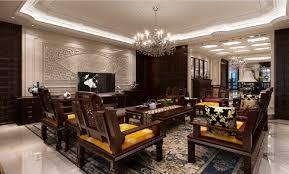 Villa Living Room With Custom Wood Furniture Set