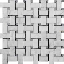 bianco carrara marble 1x2 basketweave bardiglio dot mosaic honed