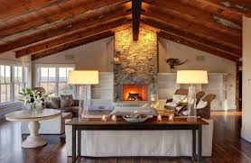 Rustic Media Console Living Room Traditional With Clear Table Lamps Wooden Wall Unit Bookcases