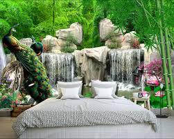 Natural Scenery Wallpaper Custom 3D Photo Peacock Lotus Wall Mural Kids Bedroom Room Decor