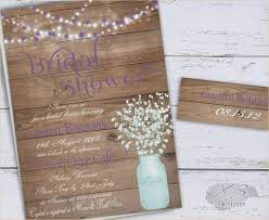 Mason Jar Bridal Shower Invitation Rustic Wedding Invite Babys Breath